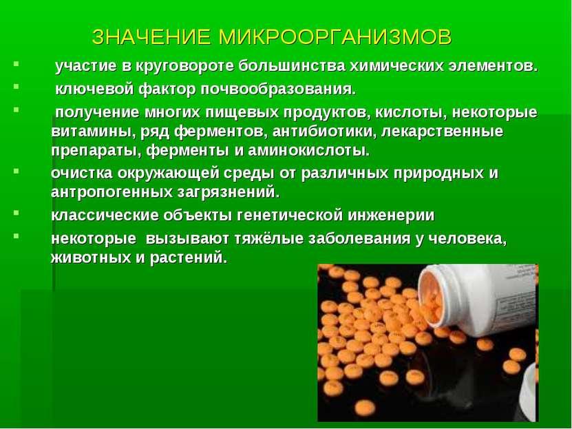ЗНАЧЕНИЕ МИКРООРГАНИЗМОВ участие в круговороте большинства химических элемент...