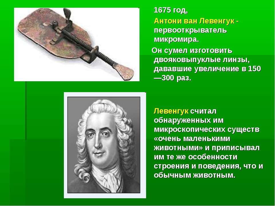 1675 год, Антони ван Левенгук - первооткрыватель микромира. Он сумел изготови...