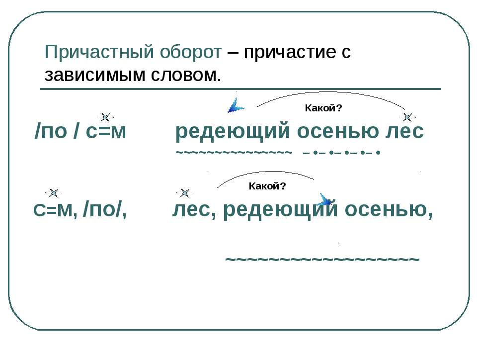 Причастный оборот – причастие с зависимым словом. Какой? /по / с=м редеющий о...