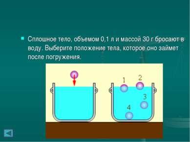 Сплошное тело, объемом 0,1л и массой 30г бросают в воду. Выберите положение...