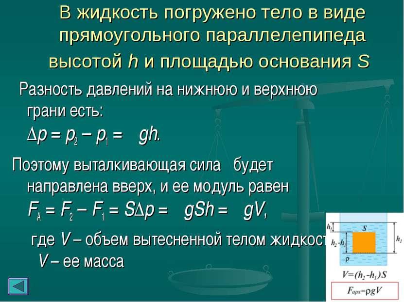 В жидкость погружено тело в виде прямоугольного параллелепипеда высотой h и п...