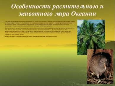 Особенности растительного и животного мира Океании Среди наиболее широко расп...
