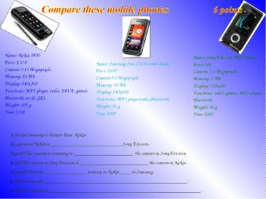 (cheap) Samsung is cheaper than Nokia. (expensive) Nokia is _________________...