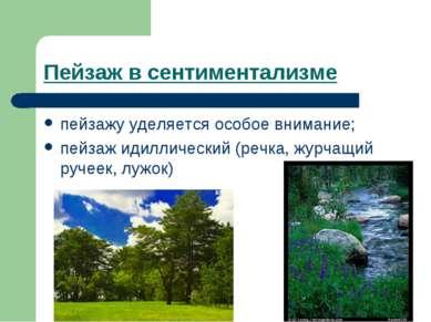 Пейзаж в сентиментализме пейзажу уделяется особое внимание; пейзаж идиллическ...