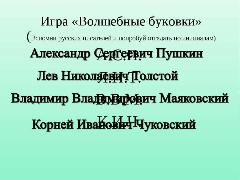Игра «Волшебные буковки» (Вспомни русских писателей и попробуй отгадать по ин...