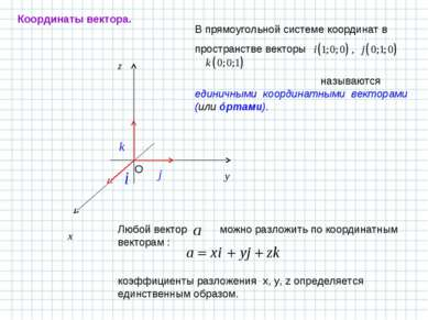 В прямоугольной системе координат в пространстве векторы называются единичным...