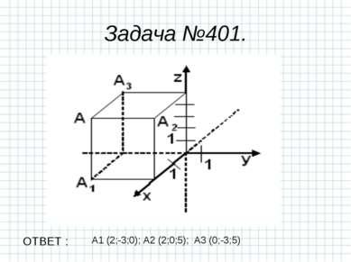 А1 (2;-3;0); А2 (2;0;5); А3 (0;-3;5) Задача №401. ОТВЕТ :