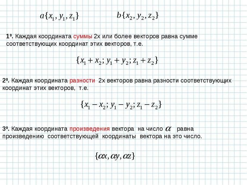 10. Каждая координата суммы 2х или более векторов равна сумме соответствующих...