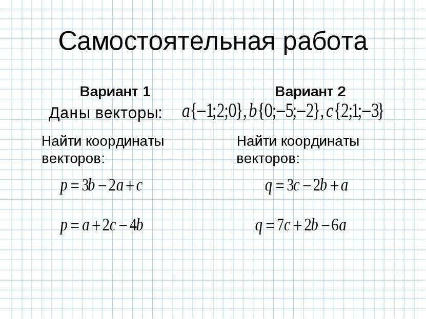 Самостоятельная работа Вариант 1 Найти координаты векторов: Вариант 2 Найти к...