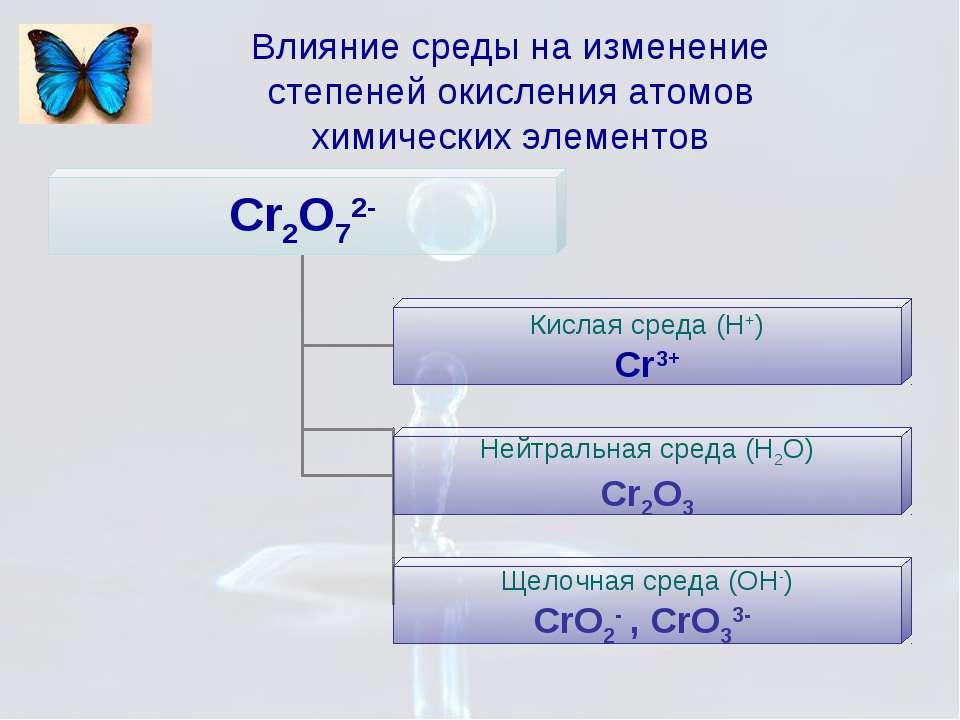 Влияние среды на изменение степеней окисления атомов химических элементов
