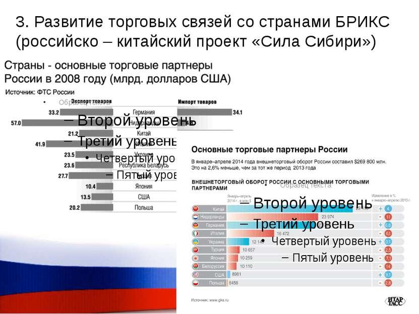 3. Развитие торговых связей со странами БРИКС (российско – китайский проект «...