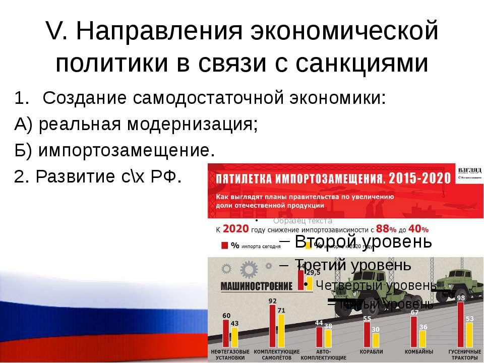 V. Направления экономической политики в связи с санкциями Создание самодостат...