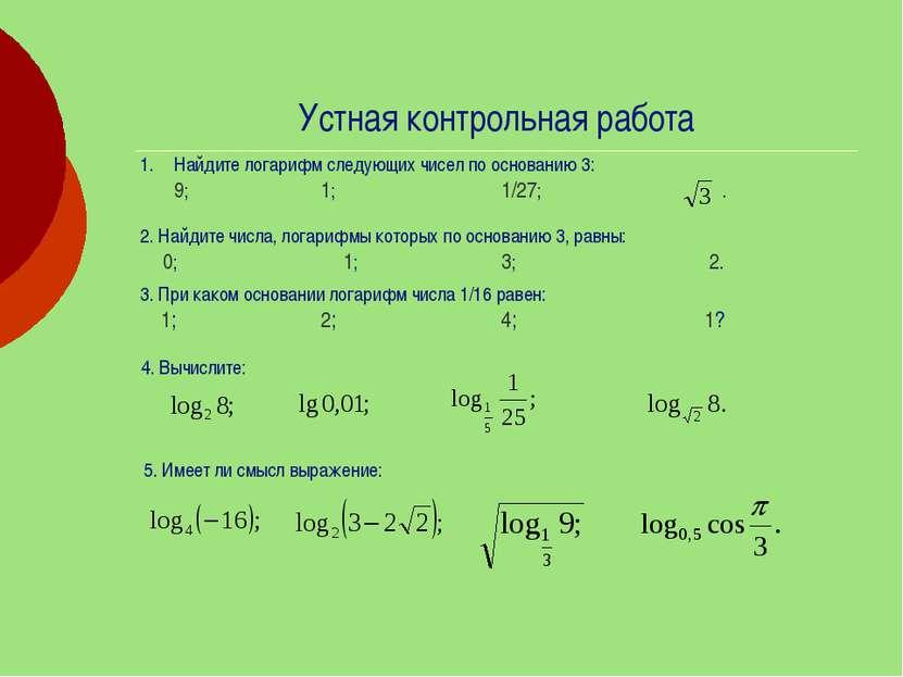 Устная контрольная работа Найдите логарифм следующих чисел по основанию 3: 9;...