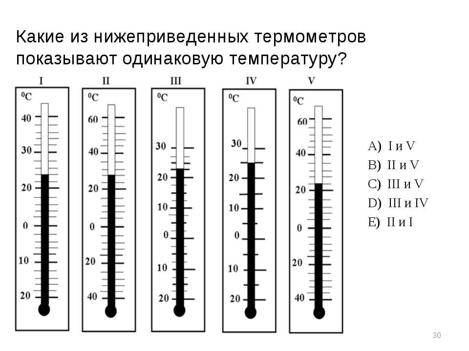 * Какие из нижеприведенных термометров показывают одинаковую температуру? А)...