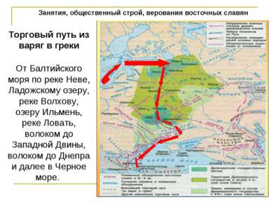 Занятия, общественный строй, верования восточных славян Торговый путь из варя...