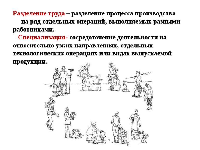 Разделение труда – разделение процесса производства на ряд отдельных операций...