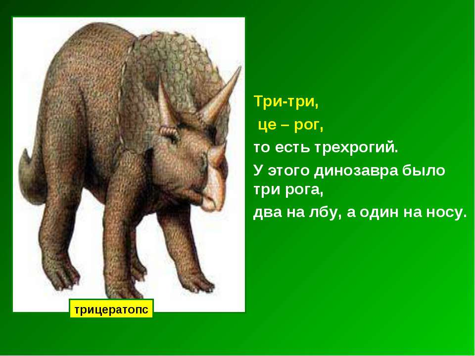 Три-три, це – рог, то есть трехрогий. У этого динозавра было три рога, два на...