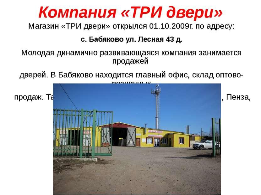 Компания «ТРИ двери» Магазин «ТРИ двери» открылся 01.10.2009г. по адресу: с. ...