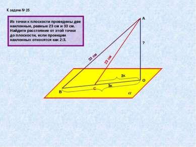 К задаче № 25 А В О С 33 см 23 см 3х 2х Из точки к плоскости проведены две на...