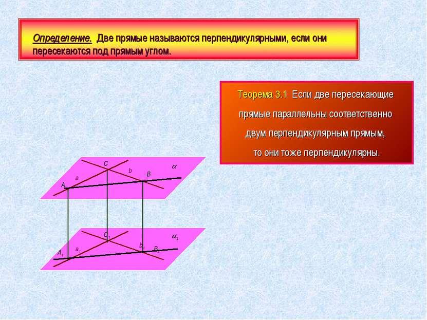 Определение. Две прямые называются перпендикулярными, если они пересекаются п...