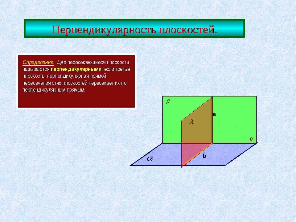 Перпендикулярность плоскостей. Определение. Две пересекающиеся плоскости назы...