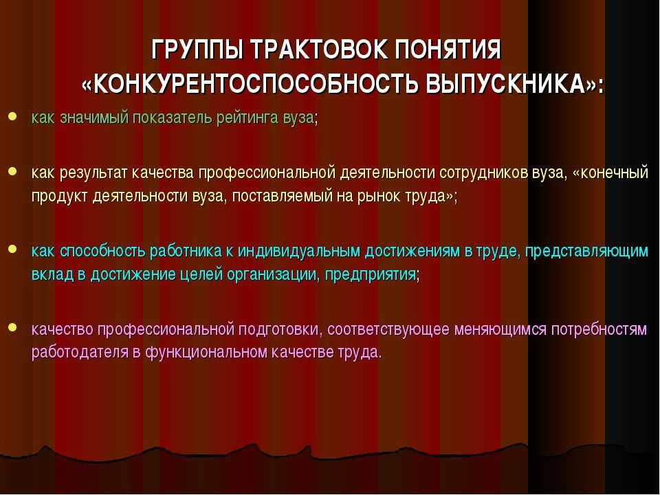 ГРУППЫ ТРАКТОВОК ПОНЯТИЯ «КОНКУРЕНТОСПОСОБНОСТЬ ВЫПУСКНИКА»: как значимый пок...