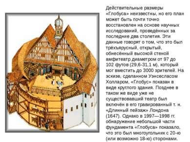 Действительные размеры «Глобуса» неизвестны, но его план может быть почти точ...