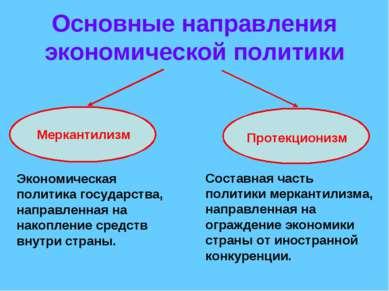 Основные направления экономической политики Меркантилизм Протекционизм Эконом...
