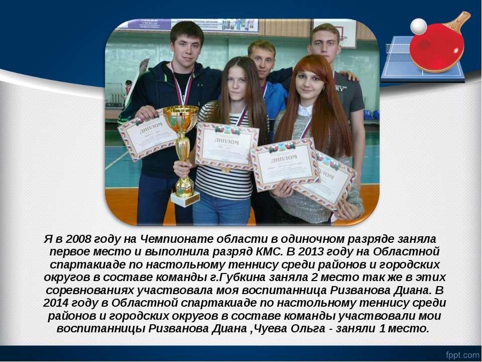 Я в 2008 году на Чемпионате области в одиночном разряде заняла первое место и...