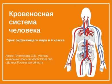 Кровеносная система человека Урок окружающего мира в 4 классе Автор: Плотнико...