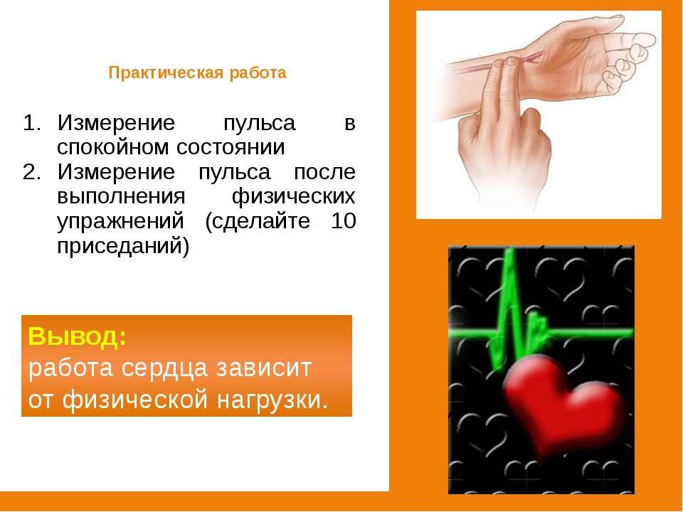 Измерение пульса в спокойном состоянии Измерение пульса после выполнения физи...