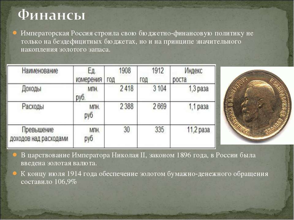 Императорская Россия строила свою бюджетно-финансовую политику не только на б...