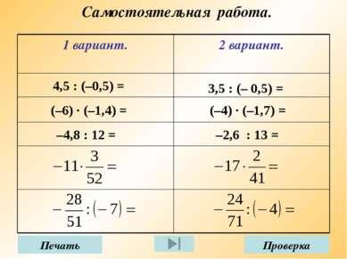 Самостоятельная работа. 4,5 : (–0,5) = 3,5 : (– 0,5) = (–6) · (–1,4) = (–4) ·...