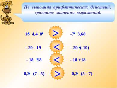 Не выполняя арифметических действий, сравните значения выражений. > < < > 16 ...