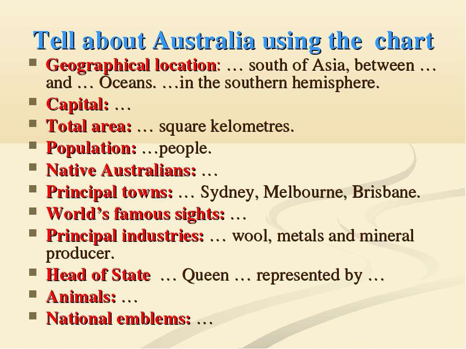 Tell about Australia using the chart Geographical location: … south of Asia, ...