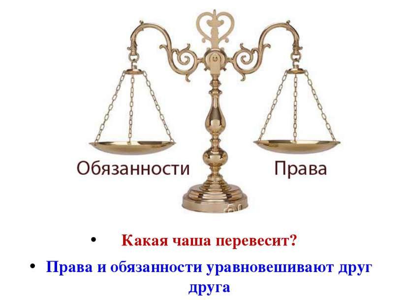 Какая чаша перевесит? Права и обязанности уравновешивают друг друга