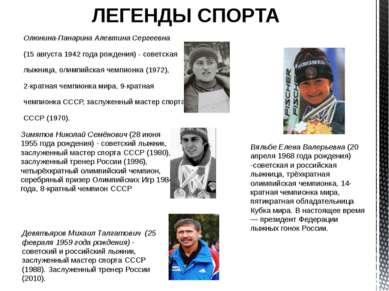 ЛЕГЕНДЫ СПОРТА Олюнина-Панарина Алевтина Сергеевна (15 августа 1942 года рожд...