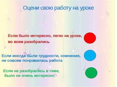 Оцени свою работу на уроке Если было интересно, легко на уроке, во всем разоб...