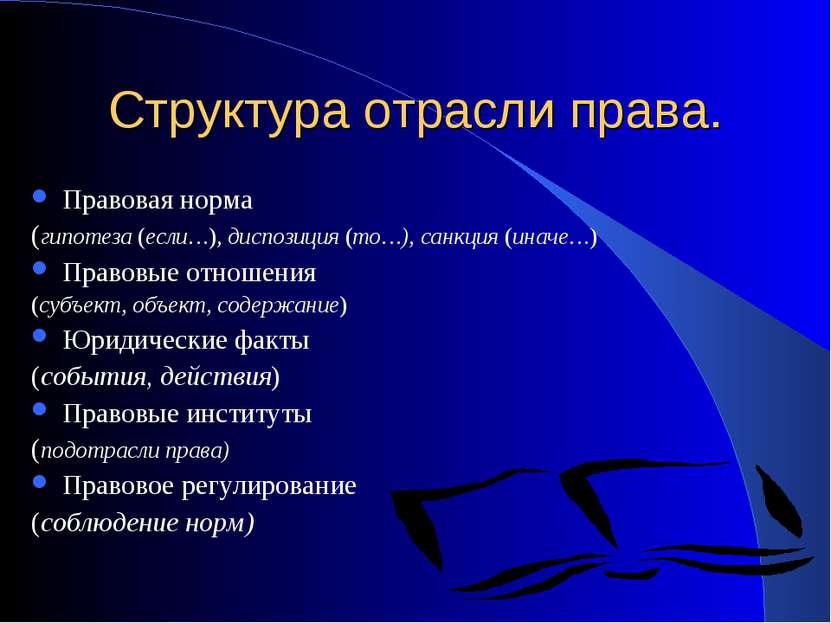 Структура отрасли права. Правовая норма (гипотеза (если…),диспозиция (то…), ...