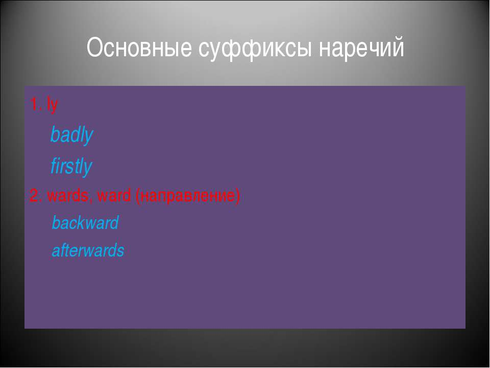Основные суффиксы наречий 1. ly badly firstly 2. wards, ward (направление) ba...