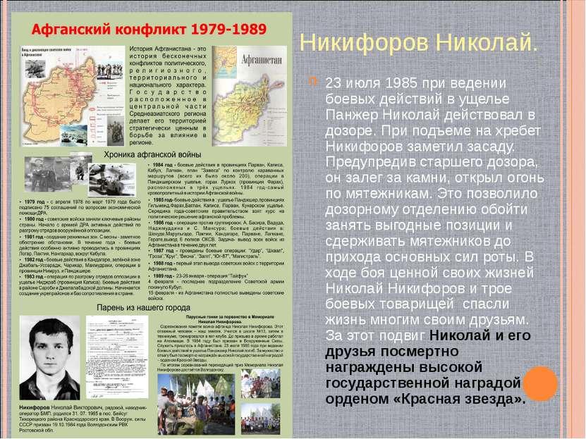 Никифоров Николай. 23 июля 1985 при ведении боевых действий в ущелье Панжер Н...