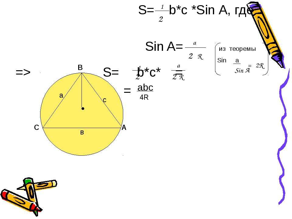 S= b*с *Sin А, где Sin A= из теоремы Sin a => S= b*с* = = А в а с С В 2 1 a 2...