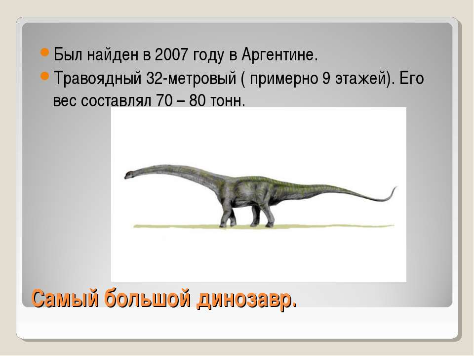 Самый большой динозавр. Был найден в 2007 году в Аргентине. Травоядный 32-мет...