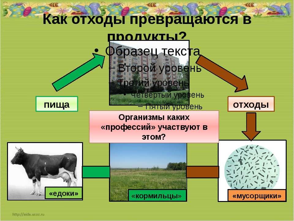 Как отходы превращаются в продукты? отходы пища Организмы каких «профессий» у...