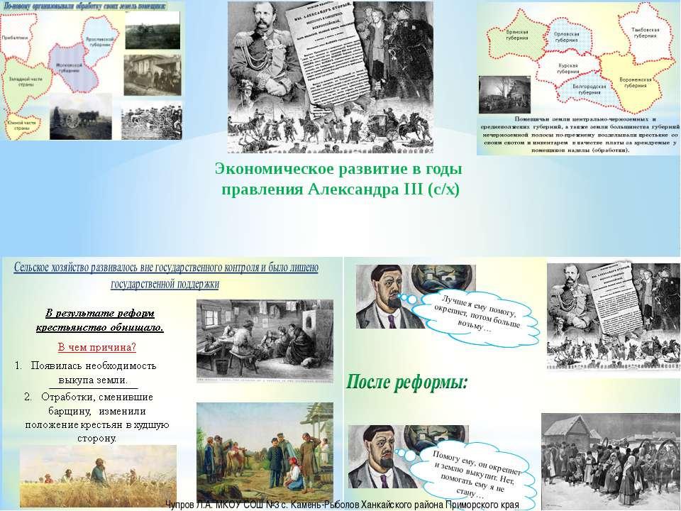 Экономическое развитие в годы правления Александра III (с/х) Чупров Л.А. МКОУ...