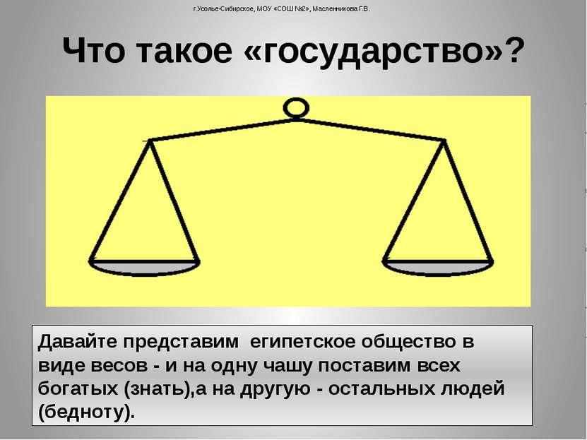 Что такое «государство»? Давайте представим египетское общество в виде весов ...