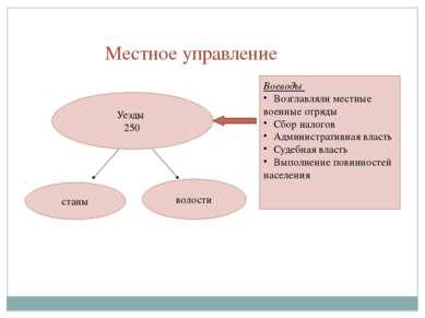 Местное управление Уезды 250 станы волости Воеводы Возглавляли местные военны...