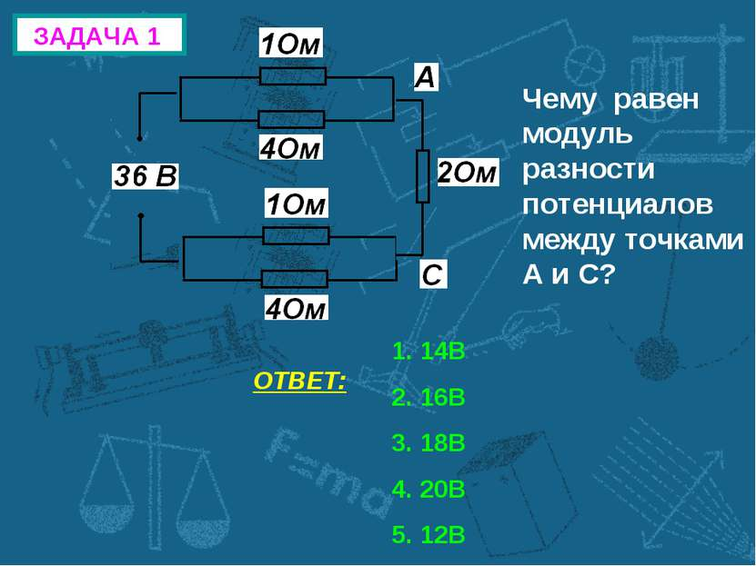 ЗАДАЧА 1 Чему равен модуль разности потенциалов между точками А и С? ОТВЕТ: 1...