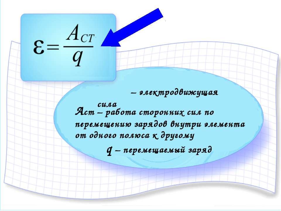 ξ – электродвижущая сила Аст – работа сторонних сил по перемещению зарядов вн...
