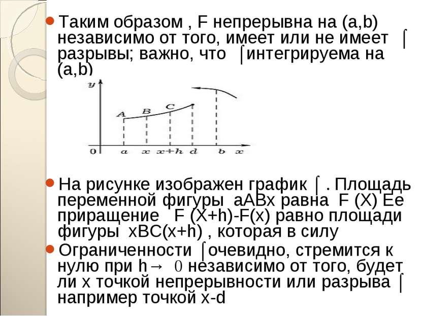 Таким образом , F непрерывна на (a,b) независимо от того, имеет или не имеет ...
